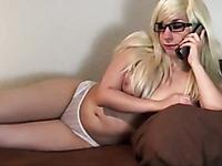 Straight haired slutty blonde MILF sucks my buddy while talking to her hubby