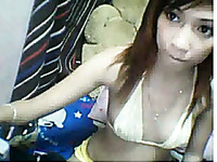 Ardent skinny Asian webcam girl flirts with me topless
