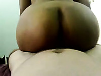 Hot ebony chick rides my hard dick in reverse cowgirl style