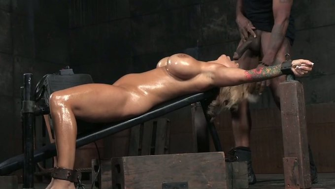 Juicy And Busty Blonde Cougar Oiled Up And Restrained For Bdsm Oral Sex - Mylustcom Video-6409