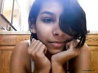 Adorable dark skin teen cutie fingers her hairy snapper