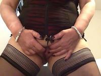 Voluptuous German MILF in sexy lingerie set masturbating passionately