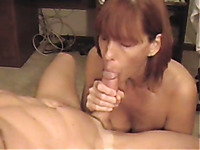 My girlfriend's mom secretly sucks my cock when I visit her
