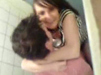 Brunette amateur college girl fucks in the small toilet room