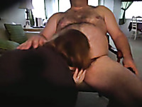 Red haired mature wife sucking my dick deepthroat