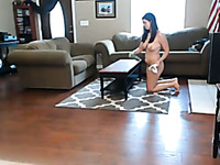 Spoiled brunette maid cleaning my house when she is completely naked