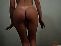 My adorable brunette GF dances for me with no clothes on