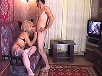 Dirty and cute blonde amateur chick feeding on a dick of her man