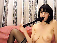 Short haired slender amateur webcam beauty pet her own anus with toy