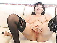 Emotional dark haired webcam housewife in stockings masturbated with toy