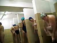 Lots of all natural slutty Russian ladies take a shower on hidden cam