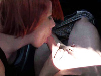 Cute and busty redhead teen rode my dick in the car