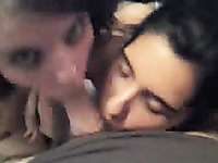 Dark haired naturally cute chick of my buddy is busy with giving him BJ