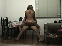 Spy camera films my roommate riding her BF's hard dick