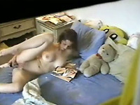 Busty white hot amateur babe in her bedroom spied with camera