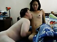 Chubby Asian guy worships his skinny Filipina slut