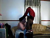 BBW mature slut sucking my friend's big black dick balls deep