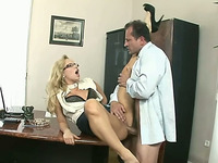 Raunchy blonde secretary in the office room bangs her boss