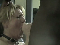 Blonde amateur milf greedily eats BBC and cum of her neighbor