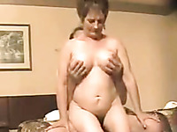 Horny mature wife rides my hard cock in reverse cowgirl style