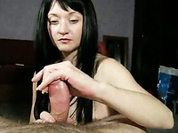 Lewd wife gives me handjob making me cum three times