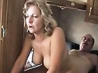 Wondrous mature chubby blonde lady rides her hubby's dick in cowgirl pose