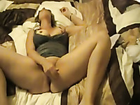 Amateur big breasted light haired ex-wife of mine loved to masturbate herself