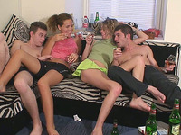 Naughty college girlfriends getting horny on the couch