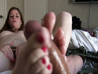 Sweet gf with hairy pussy gives me footjob and I poke her well
