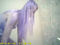Spy cam vid of purple haired titless chick changing her clothes