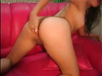 Sizzling hot white brunette teen fingers herself in the ass