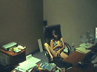 Amazing brunette young office girl masturbating on the chair