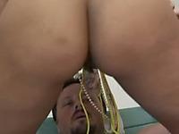 Stunning latina babe with big fat ass dominates big dick