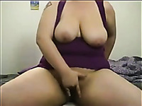 This big arsed chubby girl loves riding her dildo and she is fun to watch