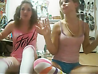 Two cute teens in bright stockings posed for my friend on webcam