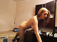 Awesome flexible blond haired babe with big boobies was dancing for my friend