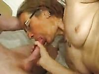 Nasty granny sucks my cock and masturbates with her fingers