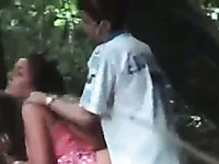 Amateur pale couple was caught fucking doggy in the woods