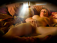 Torrid and super horny light haired nympho with big titties was masturbating