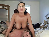 Eye catching bosomy black head is topping fat big cock of my buddy