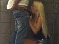 Stunning long legged blonde bimbo fucked in the public place