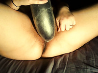 Enjoy nice soaking pussy being properly pleased with a huge black dildo