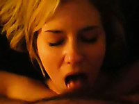 Blond haired lusty wifey was sucking small cock in a tender way