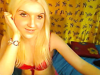 Skinny and cute blonde white chick chatting on webcam