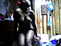 Dark skinned African big bottomed cowgirl was riding her BF in reverse pose