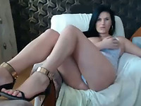 Stunning busty brunette milf fingers and toys herself