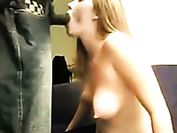 Sweet pretty blond haired girl was sucking BBC right before some doggy