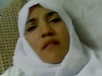 Arab amateur lady in white hijab shows her big natural tits