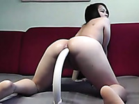 Horny girl stretching her fuck hole with big sex toy