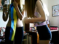 Two lewd teens dancing seductively in front of camera